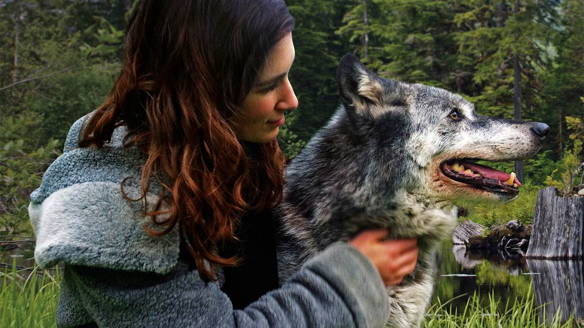 Katherine Rundell with a wolf