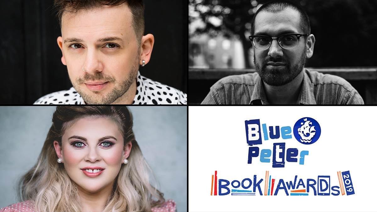 Photographs of Blue Peter Book Awards 2019 judges Alex T Smith, Darren Chetty and Louise Pentland