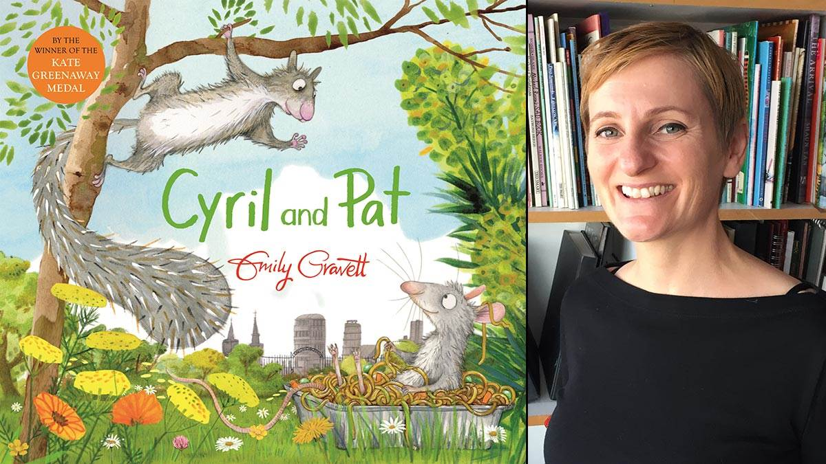 The front cover of Cyril and Pat and author-illustrator Emily Gravett