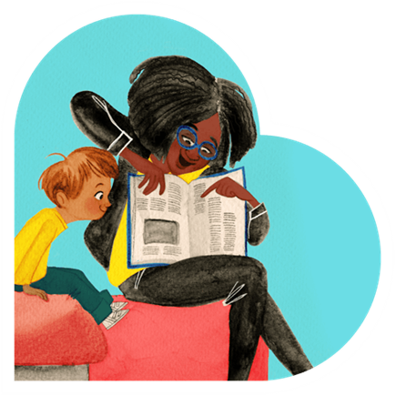 Erika Meza illustration of teacher reading to boy