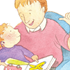 Illustration of child with disability with father
