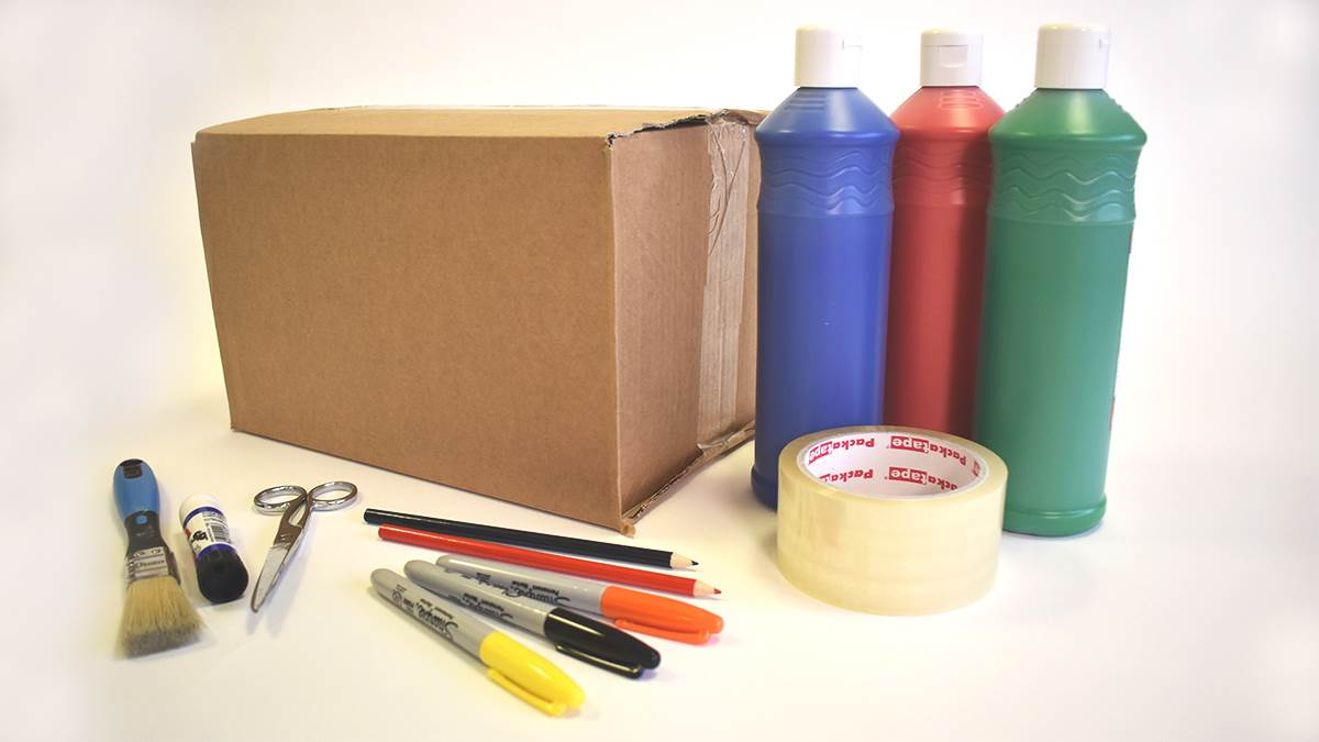 Box, paints, tape and scissors