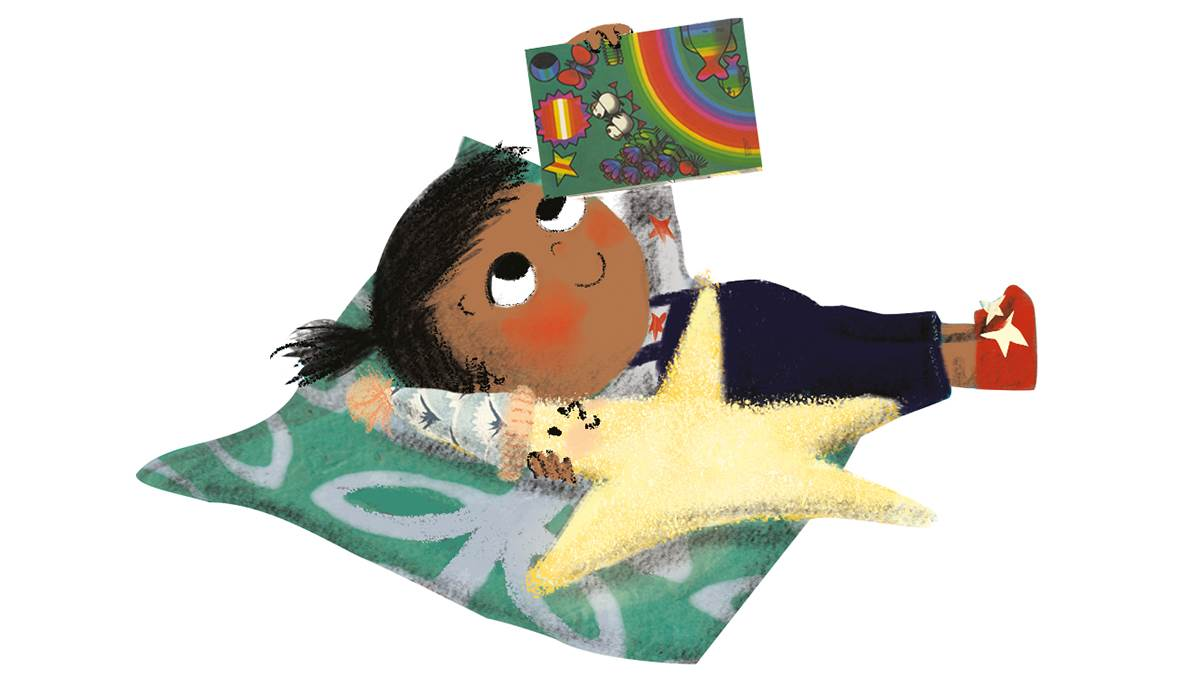 Girl and Pet Star on blanket