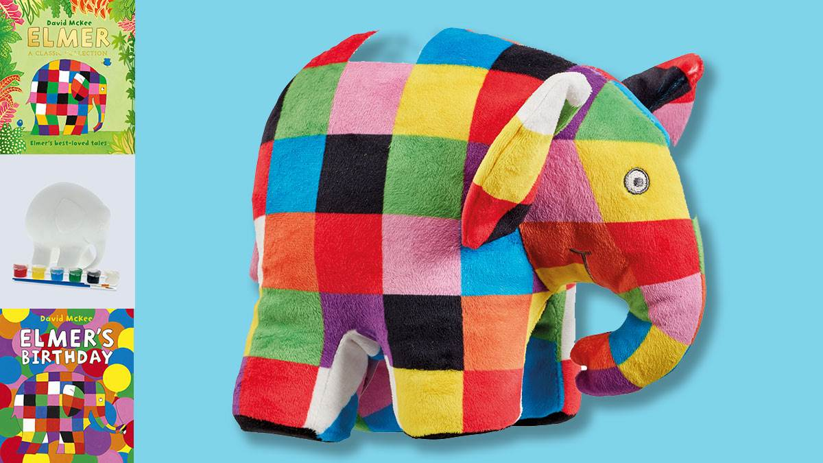 The Elmer prizes you could win: Elmer: A Classic Collection; Elmer's Birthday; Paint Your Own Elmer; and an Elmer soft toy
