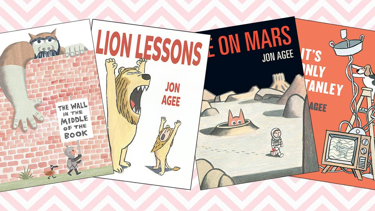 The front covers of Jon Agee's books The Wall in the Middle of the Book, Lion Lessons, Life on Mars and It's Only Stanley