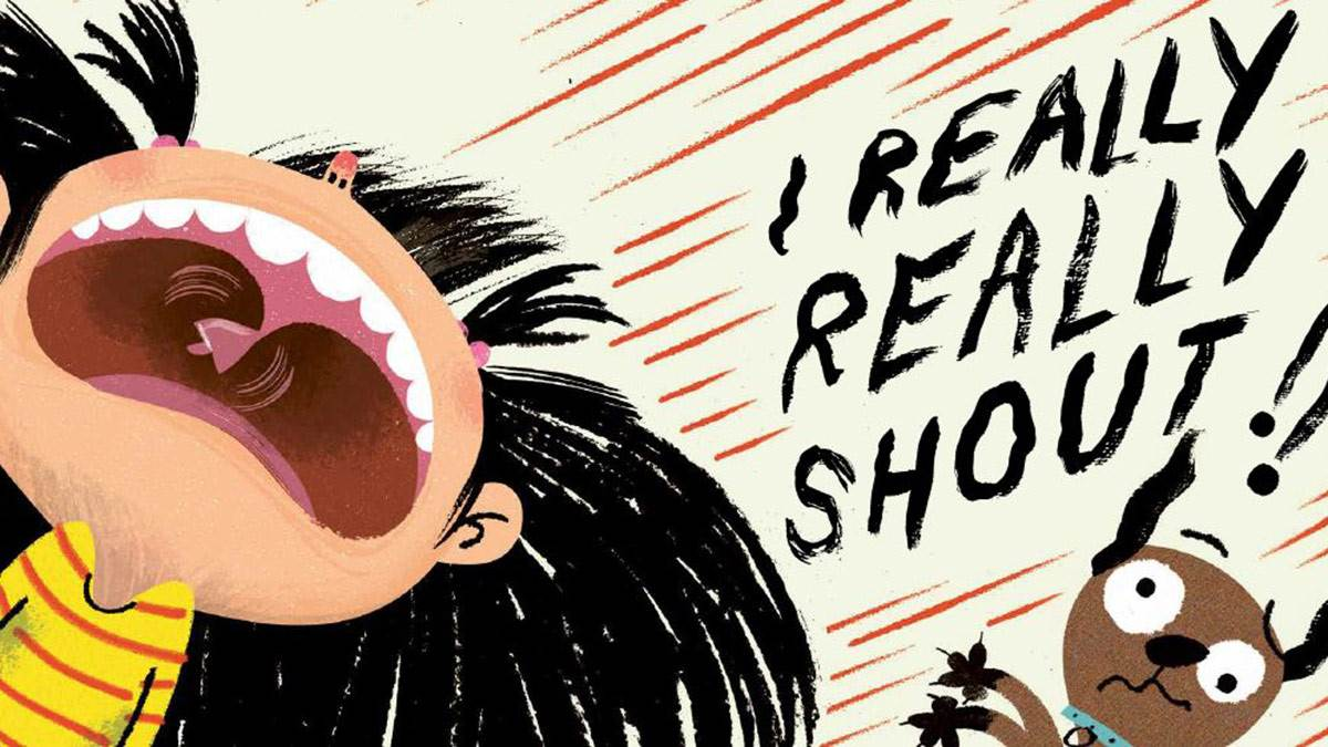 An illustration from I Really Want to Shout - a girl screaming