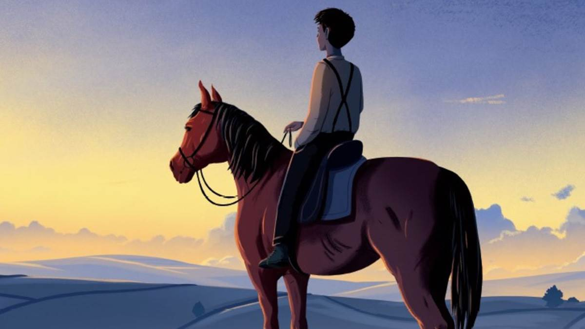 An illustration from War Horse: a soldier on the back of a horse