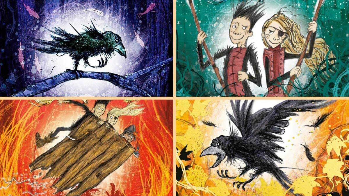 The front covers of the four Wizards of Once books