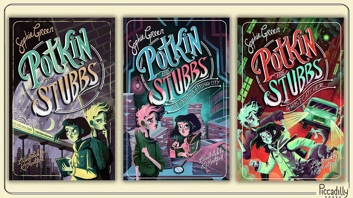 The front covers of the three Potkin and Stubbs books you could win