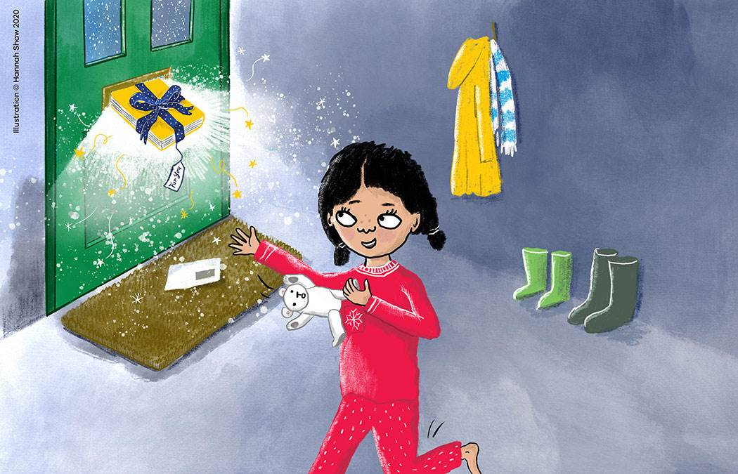 Illustration by Hannah Shaw of a girl receiving a festive gift