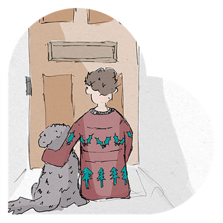Boy and dog waiting by a door