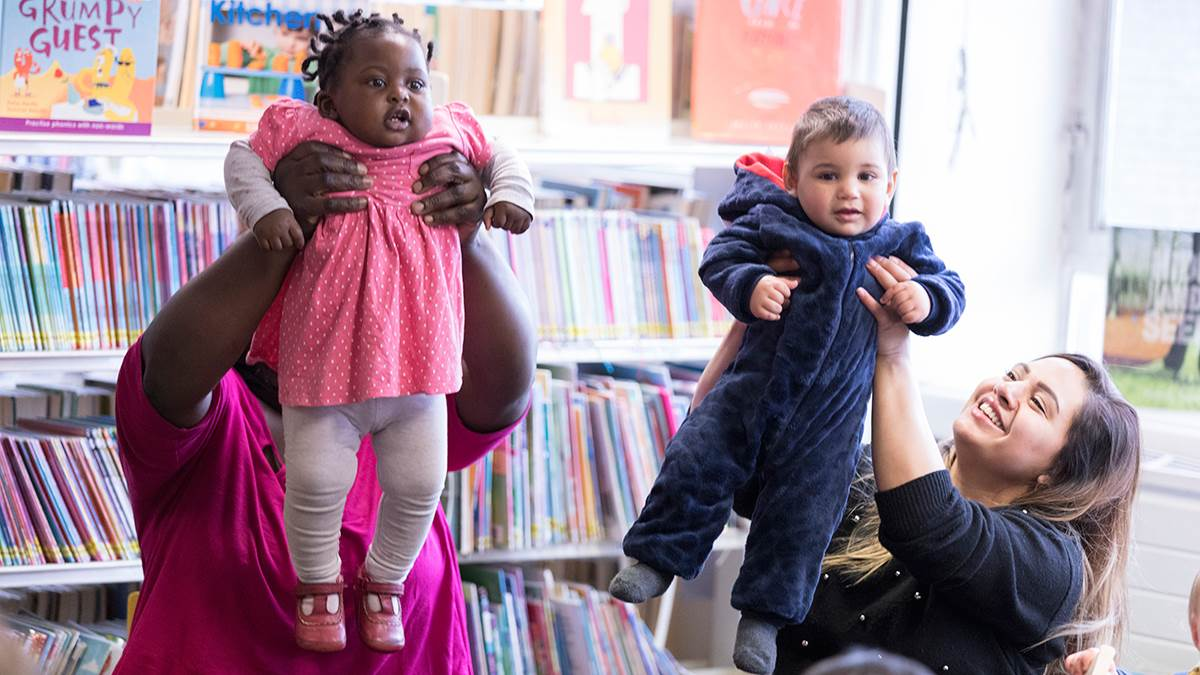 Babies having fun at a library Rhymetime