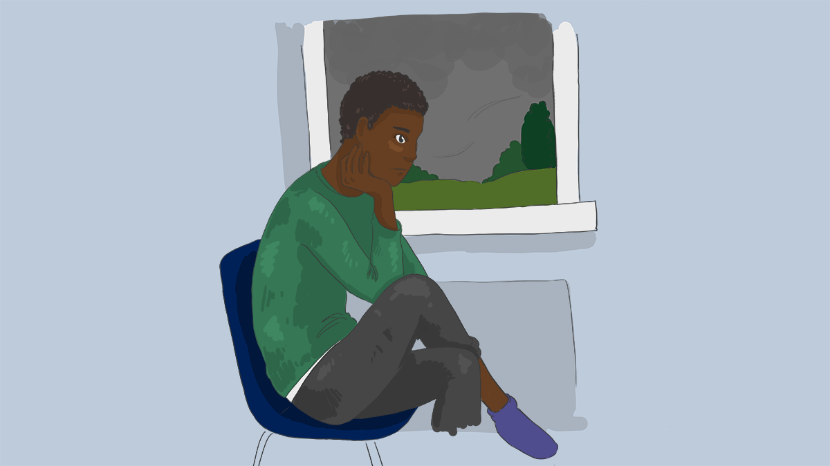 Illustration of a teenager staring out the window