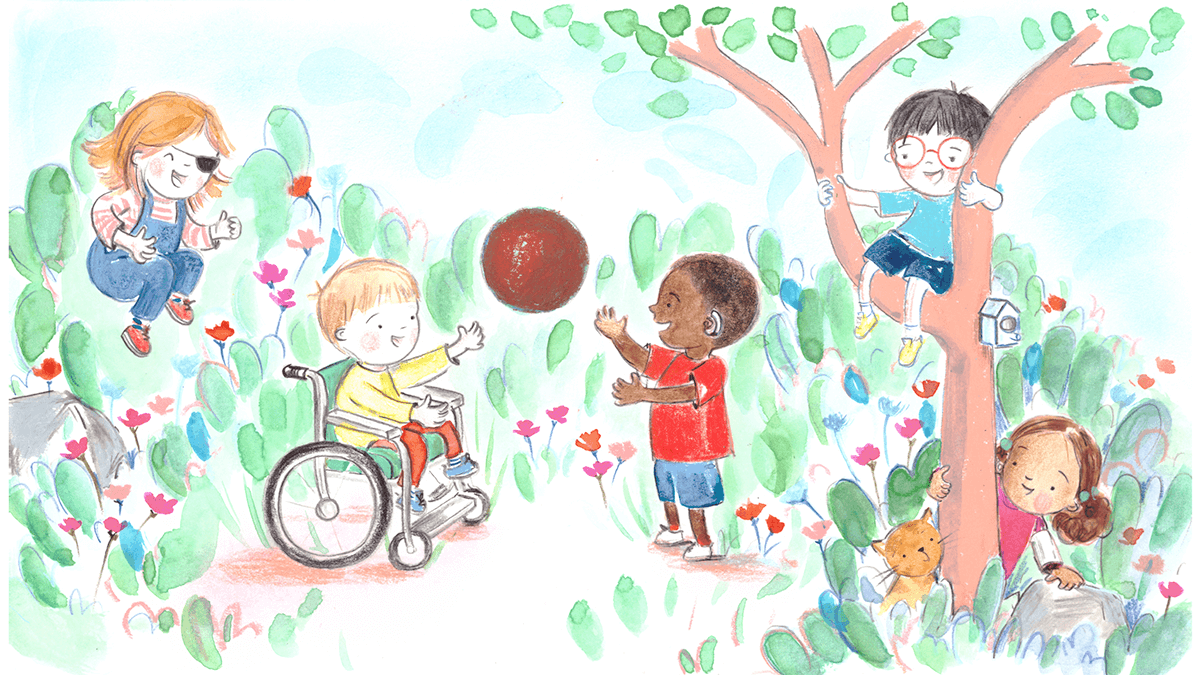 Illustration of various disabled children playing