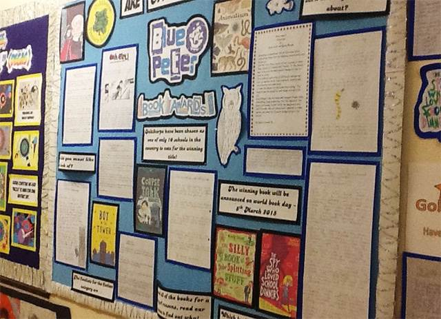 A Blue Peter Book Awards display at Oakthorpe School