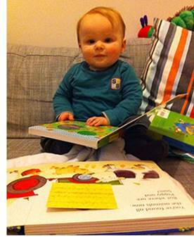 Baby Boy Reading Board Books