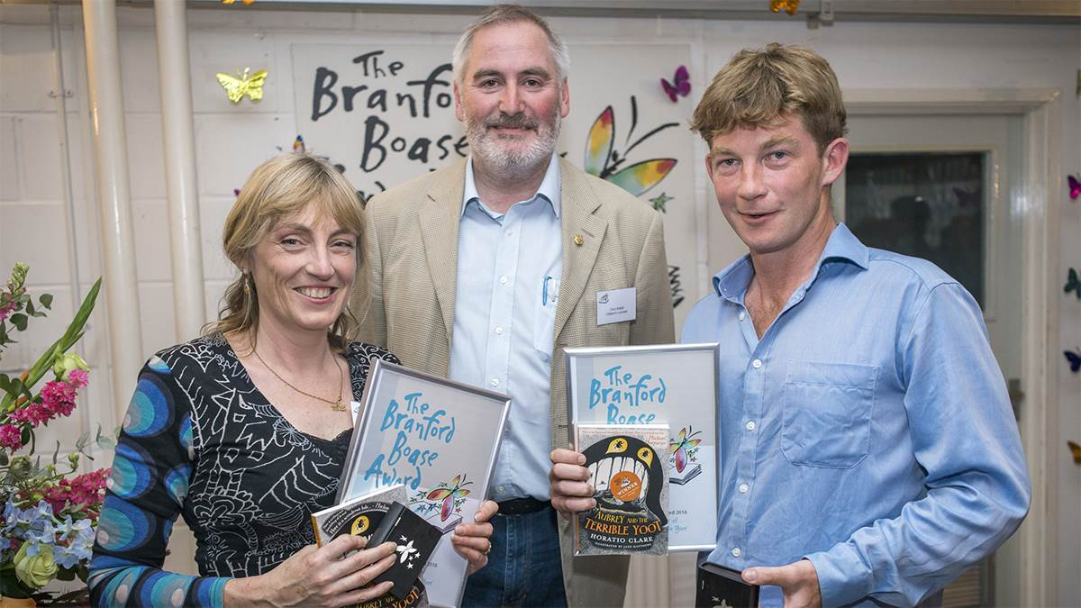 Penny Thomas, Chris Riddell and Horatio Clare at the Branford Boase Awards