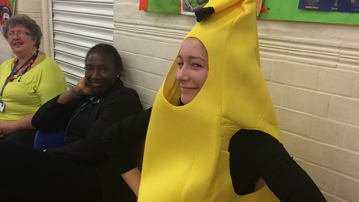 Children's Book Week: A teacher dressed as a banana