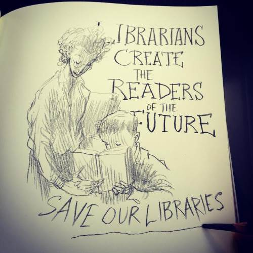 Chris Riddell's librarians drawing