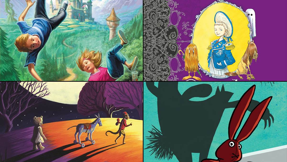 Images from the covers of The Wishing Spell, Wed Wabbit, Ottoline Goes to School and The Land of Neverendings