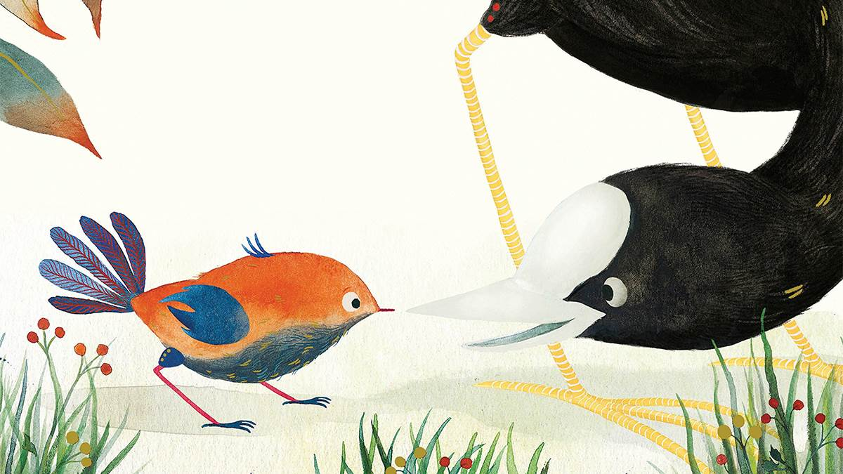 An illustration from the cover of Baby Bird by Andrew Gibbs and Zosienka