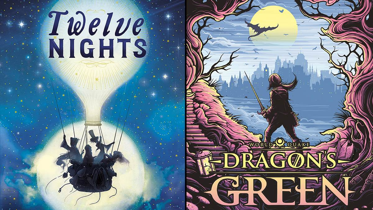 Images of the covers of Twelve Nights by Andrew Zurcher and Dragon's Green by Scarlett Thomas