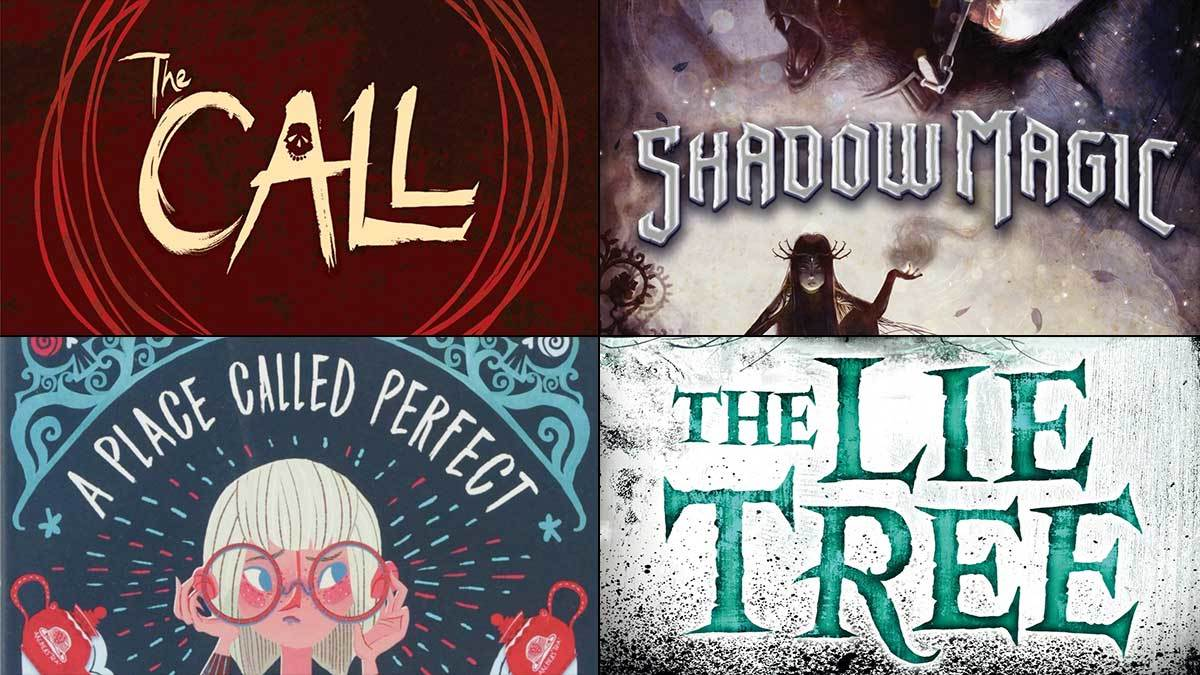 The covers of The Call, A Place Called Perfect, Shadow Magic and The Lie Tree
