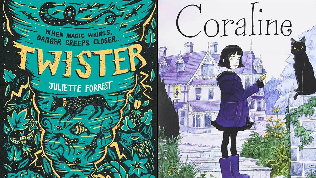 The cover of Twister by Juliette Forrest and the cover of Coraline by Neil Gaiman and illustrator Chris Riddell