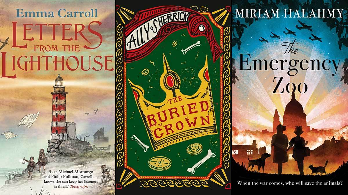 The covers of Letters from the Lighthouse, The Buried Crown and The Emergency Zoo