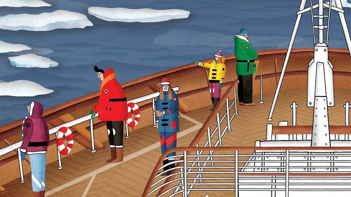 Lucy Letherland's illustration of tourists enjoying the Aurora Borealis in Atlas of Adventures: Wonders of the World