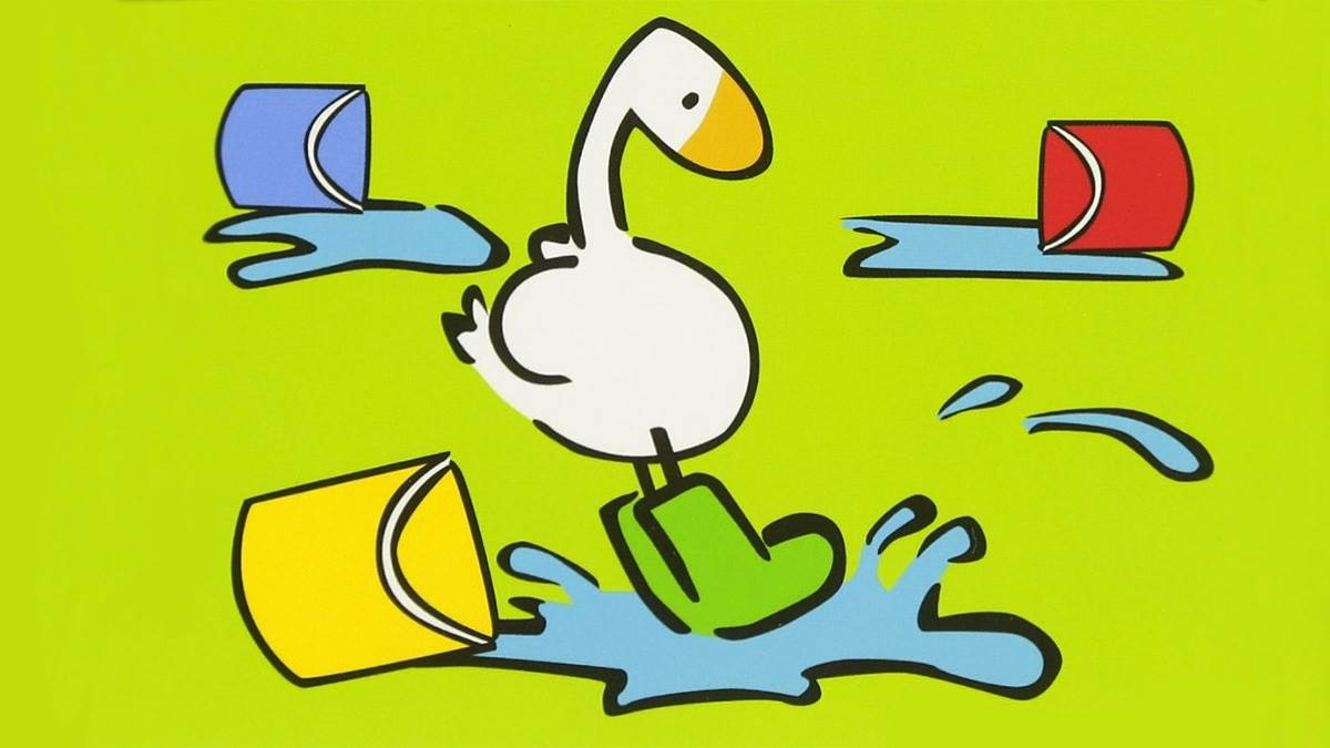 A goose with three water buckets from the cover of 123 with Goose by Laura Wall