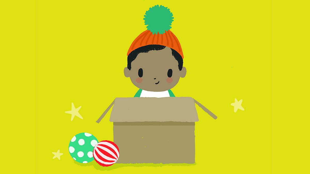 A little boy sitting in a cardboard box from the cover of Playtime with Ted by Sophy Henn