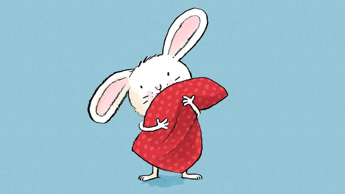 A rabbit hugging a blanket from the cover of Tickle My Ears by Jörg Mühle
