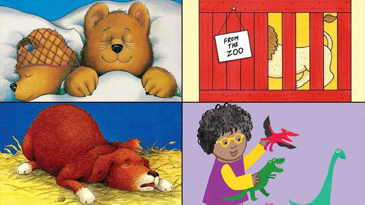 The covers of Peace at Last by Jill Murphy, Dear Zoo by Rod Campbell, Snore by Michael Rosen and Jonathan Langley, and All About Rosa by Jessica Spanyol