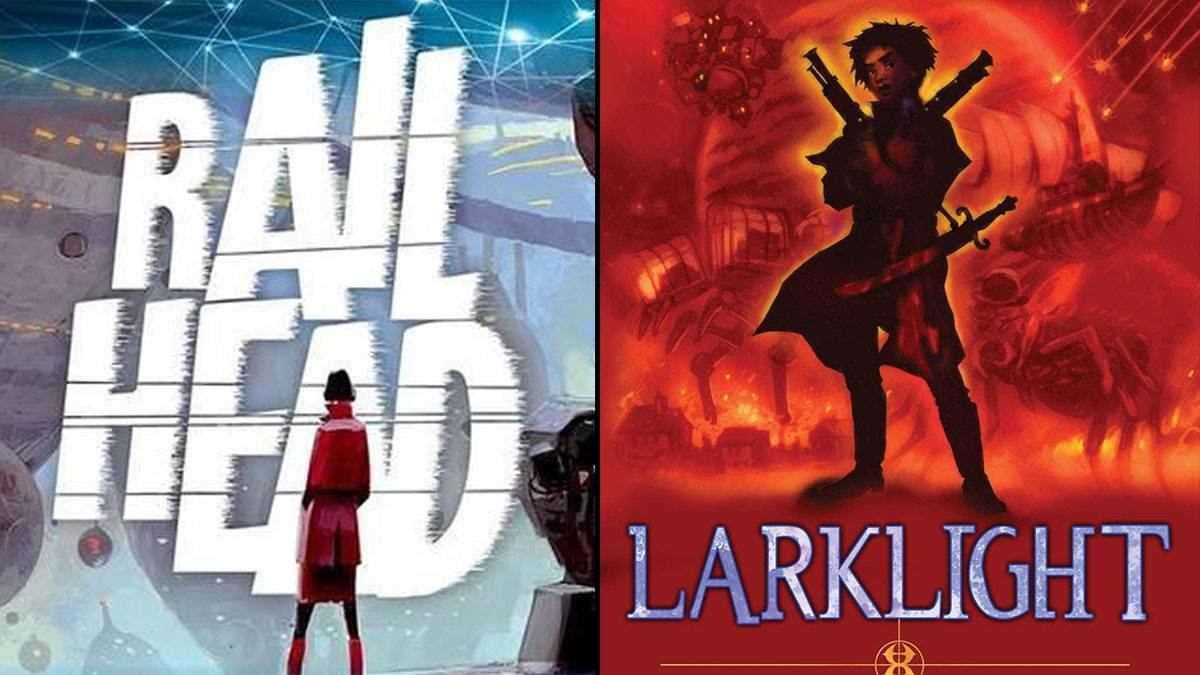 The covers of Railhead and Larklight