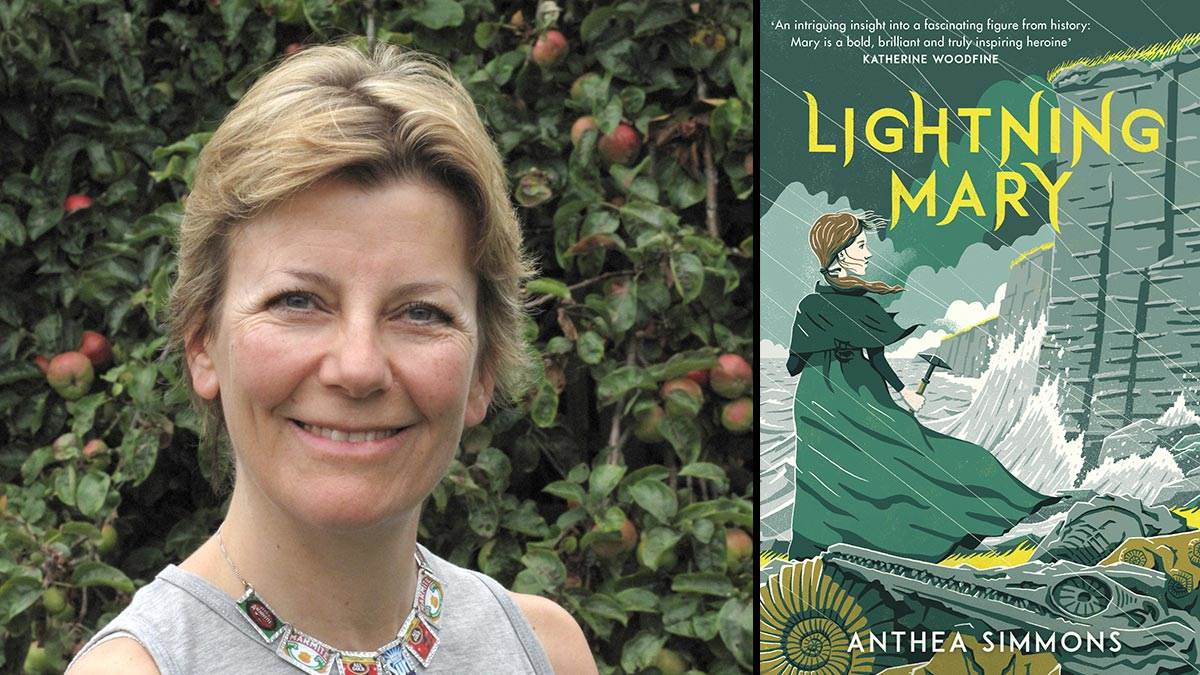 Anthea Simmons and the cover of her book Lightning Mary