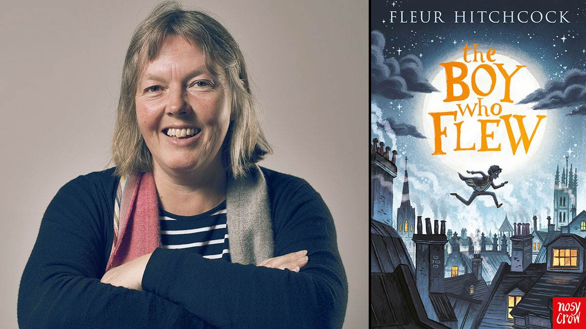 Fleur Hitchcock and the cover of her book The Boy Who Flew