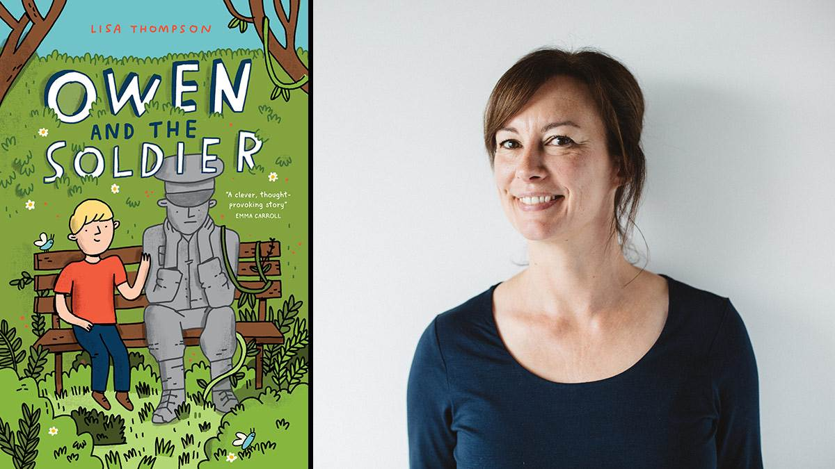 The front cover of Owen and the Soldier and author Lisa Thompson