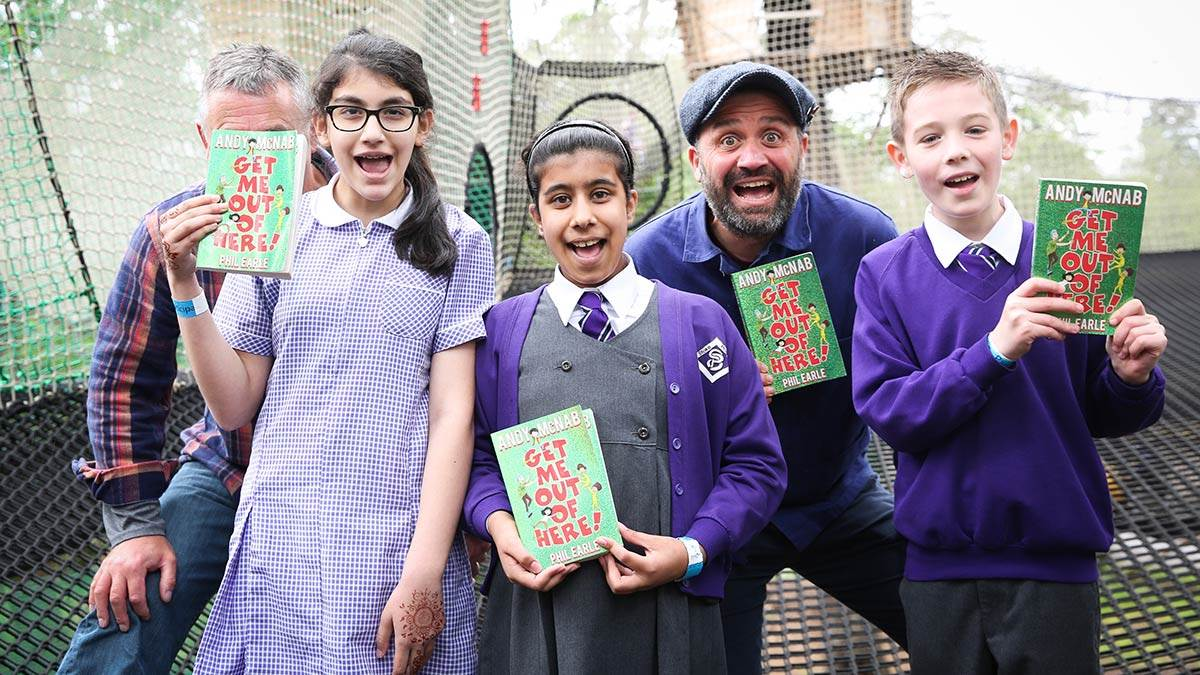 Children with Andy McNab and Phil Earle