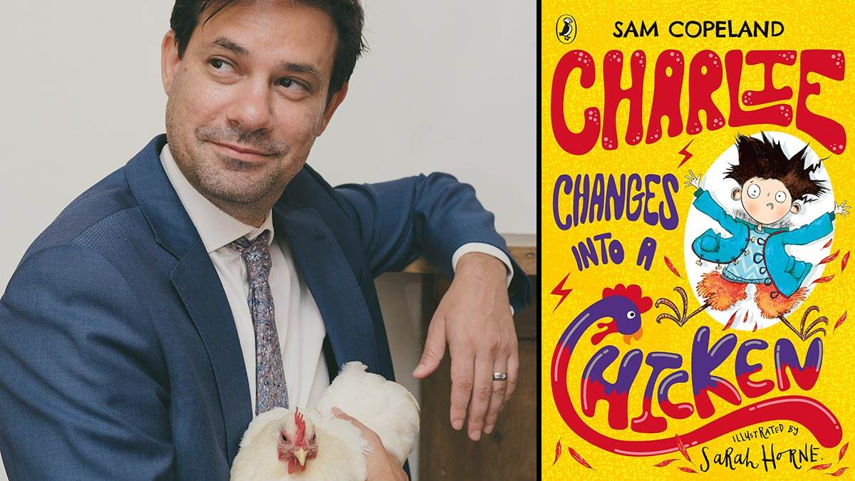 Author Sam Copeland and the front cover of Charlie Changes Into a Chicken