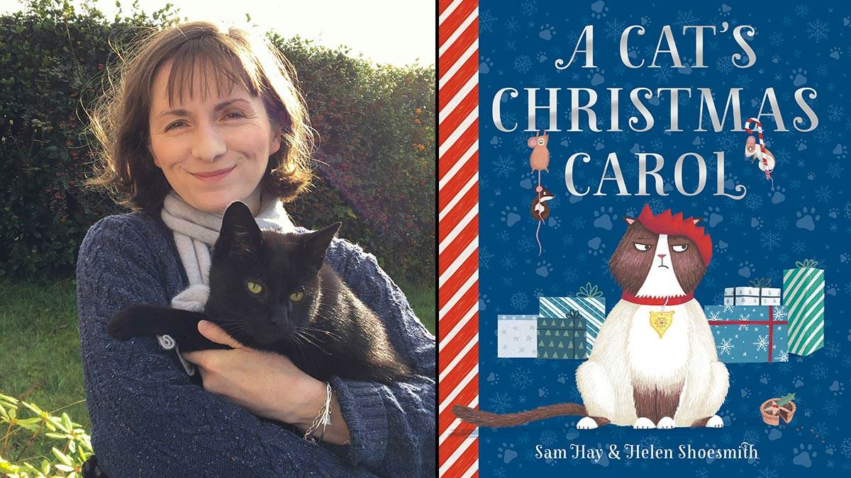 Sam Hay with her cat and the cover of A Cat's Christmas Carol