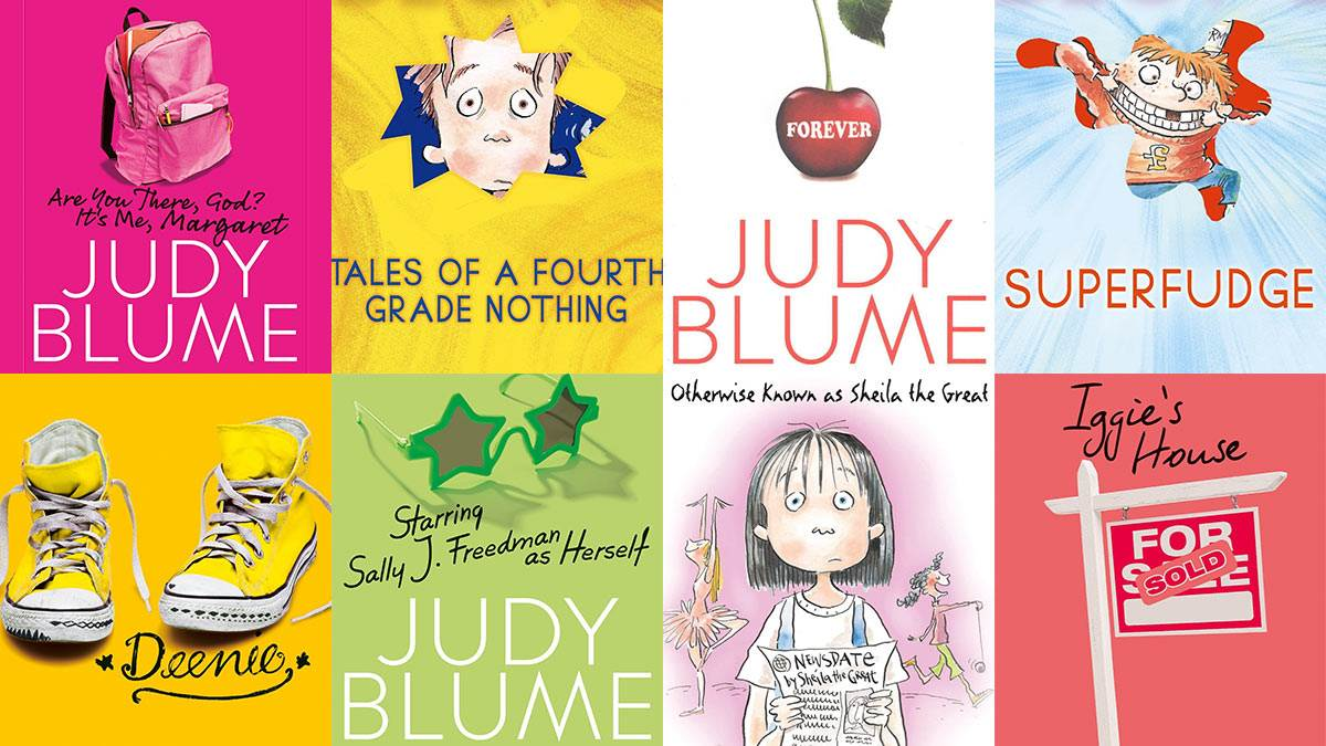 The covers of various books by Judy Blume