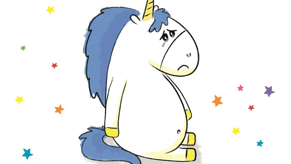 The front cover of Little Unicorn is Sad
