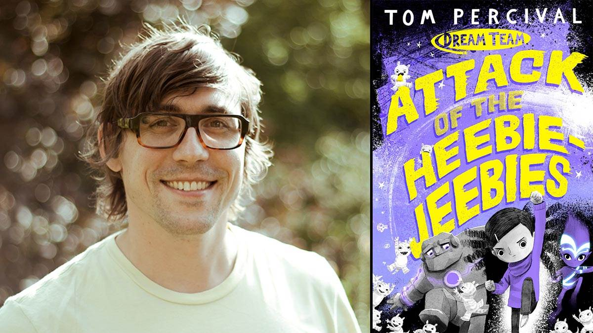 Author Tom Percival and the front cover of his book Attack of the Heebie Jeebies