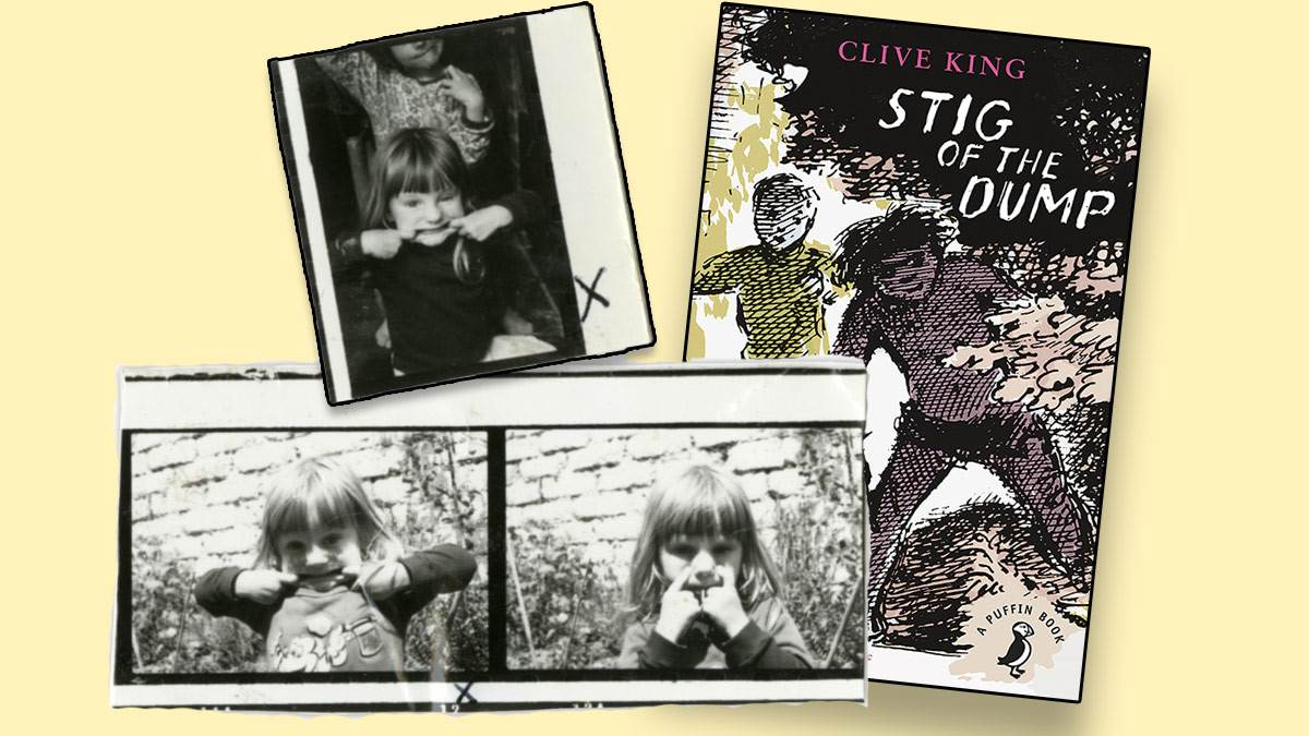 Photographs of Emily Gravett as a child and the front cover of Stig of the Dump