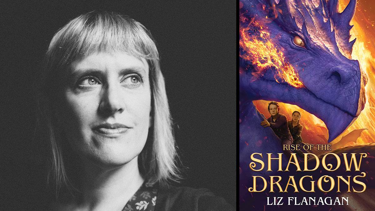 Liz Flanagan and the front cover of Rise of the Shadow Dragons