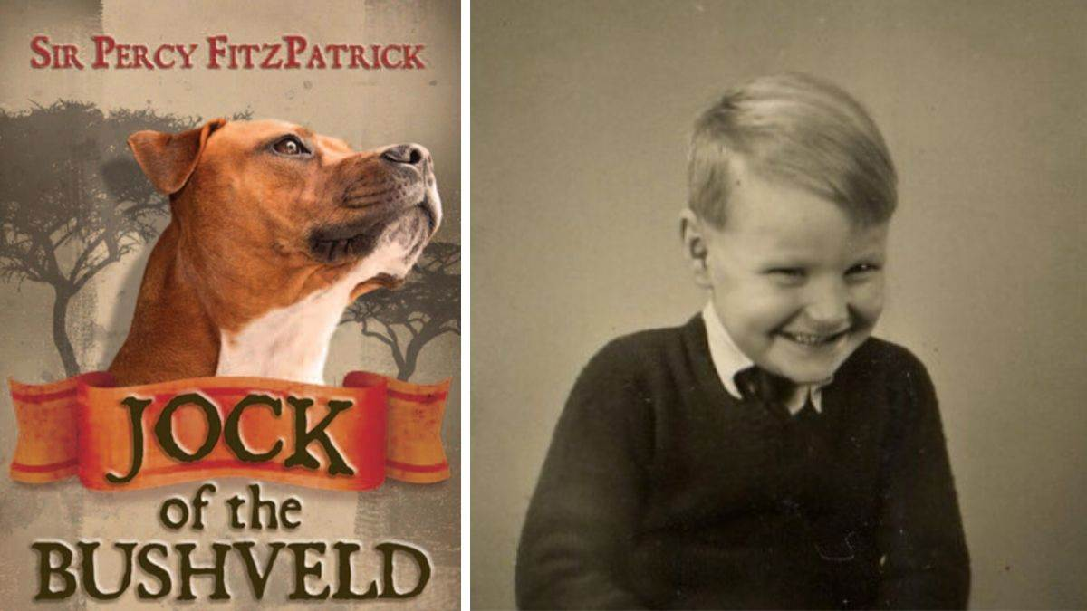 Jeremy Strong and the cover of Jock of the Bushveld