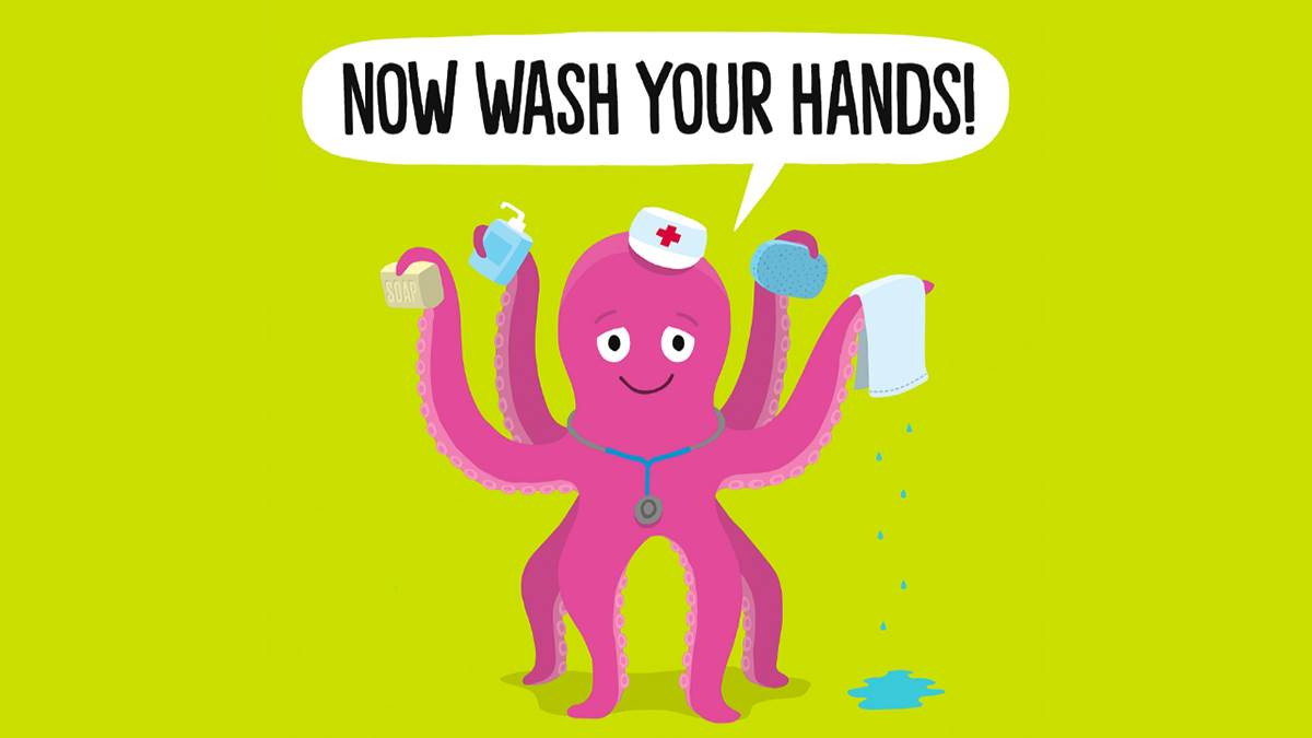 The front cover of Now Wash Your Hands by Matt Carr