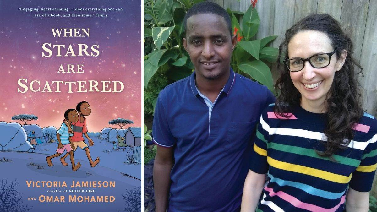 Omar Mohamed and Victoria Jamieson and the cover of When Stars Are Scattered