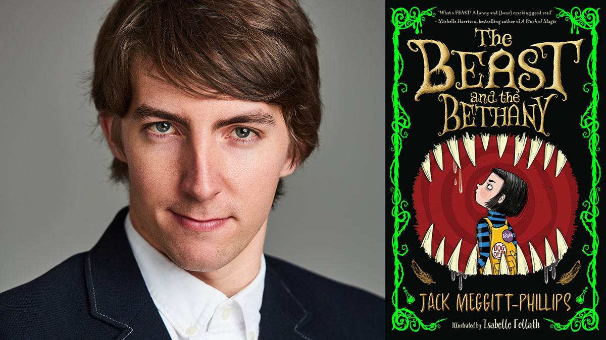 A photograph of Jack Meggitt-Phillips and the front cover of his book The Beast and the Bethany